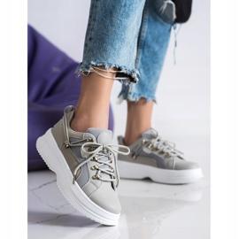SHELOVET Gray Sneakers On The Platform beige grey 4