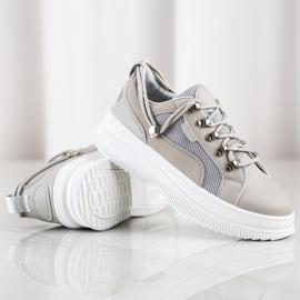 SHELOVET Gray Sneakers On The Platform beige grey 1