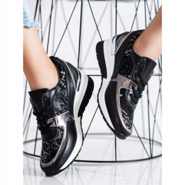 Goodin Black Leather Snake Print Sneakers 2