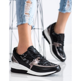 Goodin Black Leather Snake Print Sneakers 3