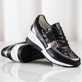 Goodin Black Leather Snake Print Sneakers 1