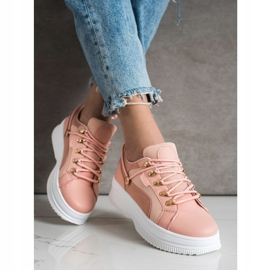 SHELOVET Pink Sneakers On The Platform 2