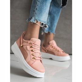 SHELOVET Pink Sneakers On The Platform 3