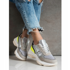 SHELOVET Comfortable fashionable sneakers silver multicolored 2