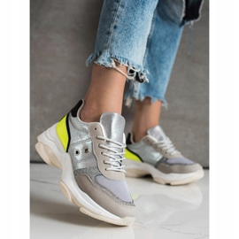SHELOVET Comfortable fashionable sneakers silver multicolored 3