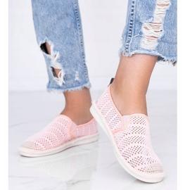 Tropical Sun pink lace espadrilles grey 1