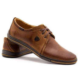 Polbut Leather shoes for men 343 camel perforation brown 2