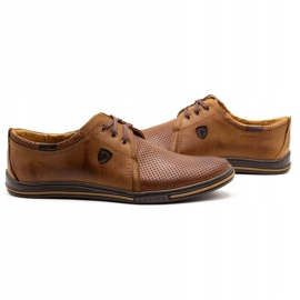 Polbut Leather shoes for men 343 camel perforation brown 3