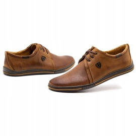 Polbut Leather shoes for men 343 camel perforation brown 4