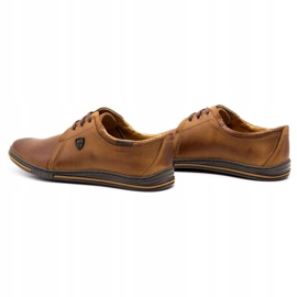 Polbut Leather shoes for men 343 camel perforation brown 5
