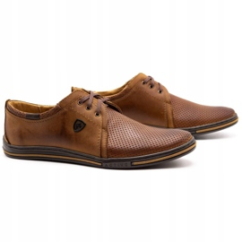 Polbut Leather shoes for men 343 camel perforation brown 1