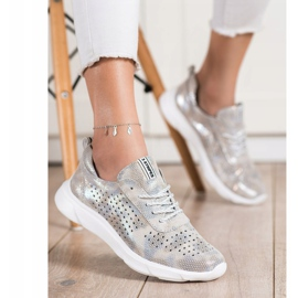Goodin Shiny Leather Sneakers beige grey golden 2