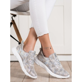 Goodin Shiny Leather Sneakers beige grey golden 3