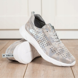 Goodin Shiny Leather Sneakers beige grey golden 1