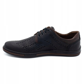 Polbut Leather shoes for men 402 summer black with brown multicolored 1
