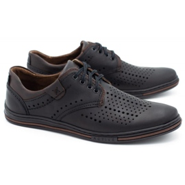 Polbut Leather shoes for men 402 summer black with brown multicolored 2