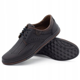 Polbut Leather shoes for men 402 summer black with brown multicolored 3