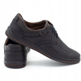 Polbut Leather shoes for men 402 summer black with brown multicolored 4