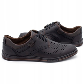 Polbut Leather shoes for men 402 summer black with brown multicolored 5