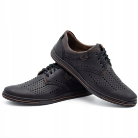 Polbut Leather shoes for men 402 summer black with brown multicolored 6