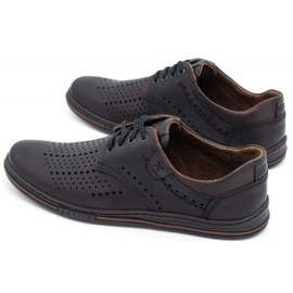 Polbut Leather shoes for men 402 summer black with brown multicolored 7
