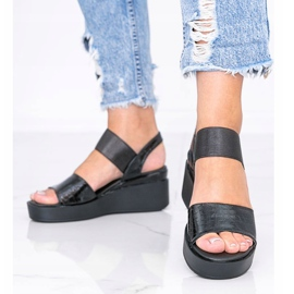 Black wedge sandals from Tiffi 1