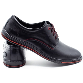 Lukas Leather men's shoes 295LU black with red 3