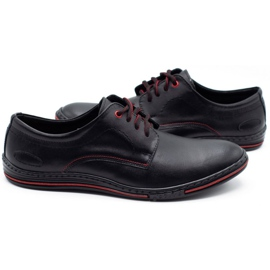 Lukas Leather men's shoes 295LU black with red 4