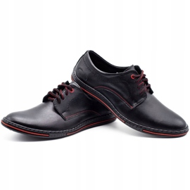 Lukas Leather men's shoes 295LU black with red 5