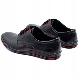 Lukas Leather men's shoes 295LU black with red 6