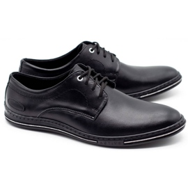 Lukas Leather men's shoes 295LU black with white 3