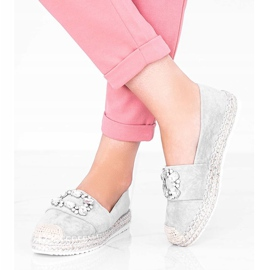 Gray espadrilles decorated with Cuban Vibe stones grey 1