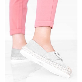 Gray espadrilles decorated with Cuban Vibe stones grey 2