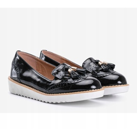 Golden hour black lacquered loafers 1