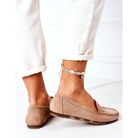 PS1 Women's Suede Loafers Light Brown Madelyn beige 3