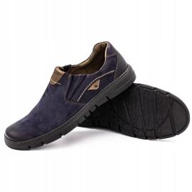 Joker Men's leather slip-on shoes 507J navy blue 4