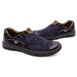 Joker Men's leather slip-on shoes 507J navy blue 6