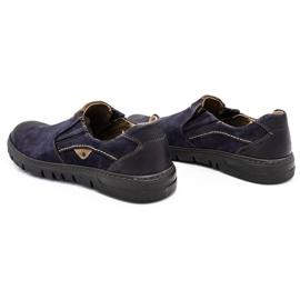Joker Men's leather slip-on shoes 507J navy blue 8