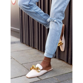 PS1 Beige Slippers With Uppers And Chain Beige Call On Me 2