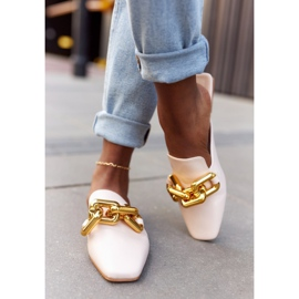 PS1 Beige Slippers With Uppers And Chain Beige Call On Me 11