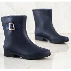 SHELOVET Rubber galoshes with buckle navy blue 1
