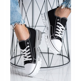 SHELOVET Sneakers With Eco Leather On The Platform black 2