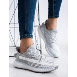 SHELOVET Textile Platform Sneakers silver grey 2