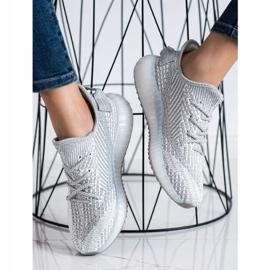 SHELOVET Textile Platform Sneakers silver grey 3