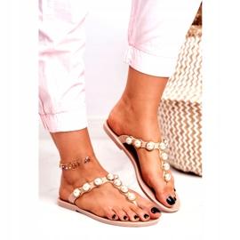 LU BOO Women's Rubber Slippers Beige Flip-flops Edith pearls pink 1
