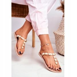 LU BOO Women's Rubber Slippers Beige Flip-flops Edith pearls pink 3
