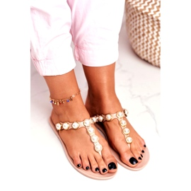 LU BOO Women's Rubber Slippers Beige Flip-flops Edith pearls pink 4
