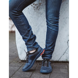 Polbut Men's casual leather K24 navy blue shoes 5