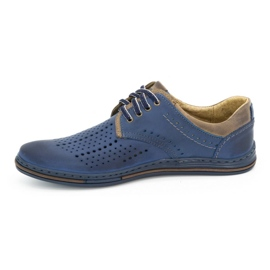Polbut Leather shoes for men 402 summer navy blue with brown multicolored 1