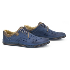 Polbut Leather shoes for men 402 summer navy blue with brown multicolored 2